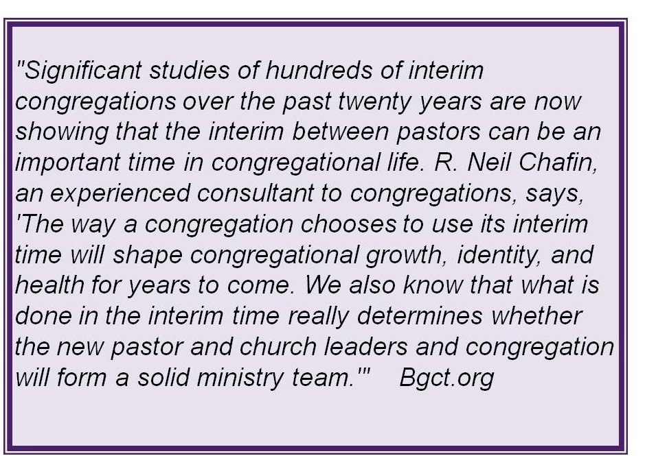 Significant studies show the importance of a transitional time in a church's history